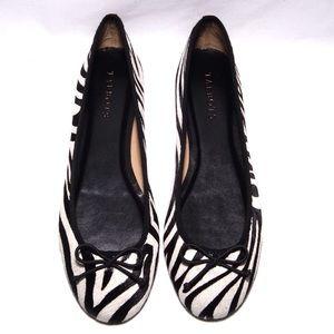 Black and cream calf hair zebra ballet flat NWOB